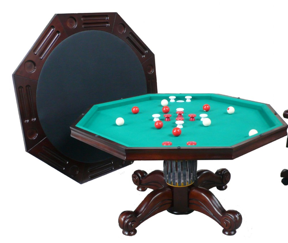 """Octagon Game Table Berner Billiards 3 in 1 Table - Octagon 54"""" with Bumper Pool in Dark ..."""