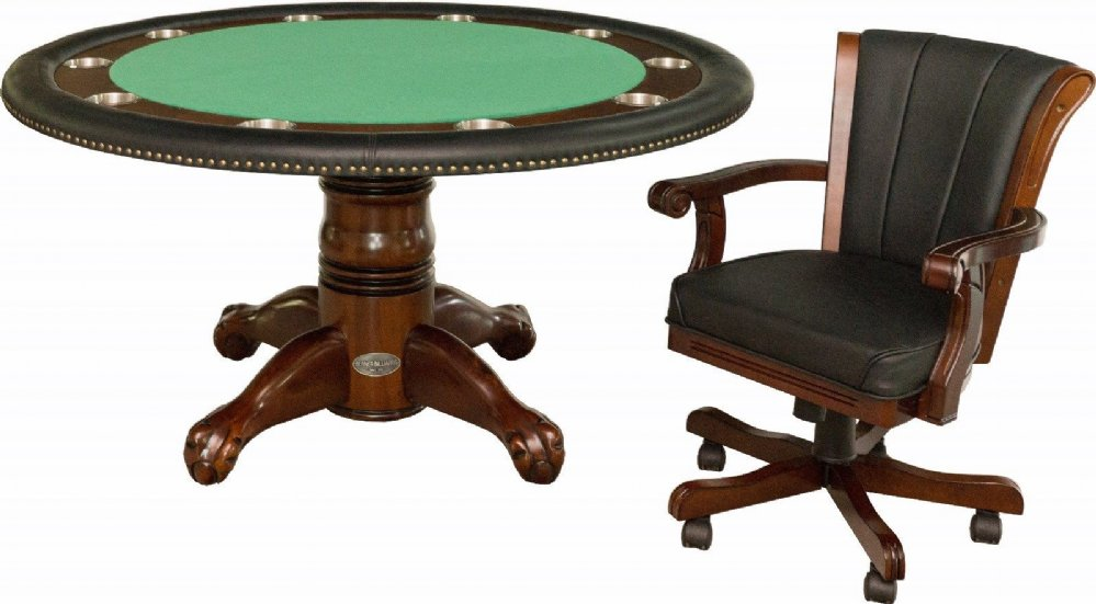 "Berner Billiards 60"" Round Poker Table 4 Chairs in Dark"