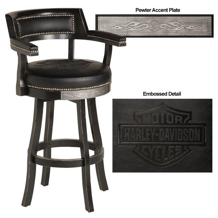 Harley Davidson 174 H D 174 Bar Amp Shield Flames Barstool With