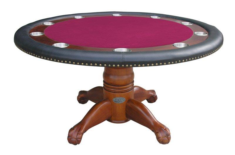 Berner Billiards 60 Round Poker Table In Antique Walnut