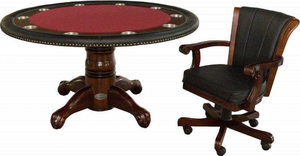 Berner Billiards 60 Round Poker Table 4 Chairs In Dark