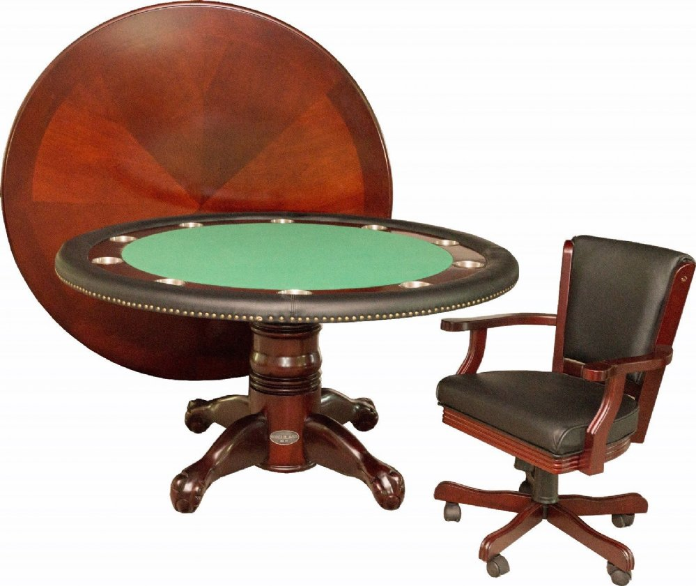 Berner Billiards 60 Round Poker Table 4 Chairs In