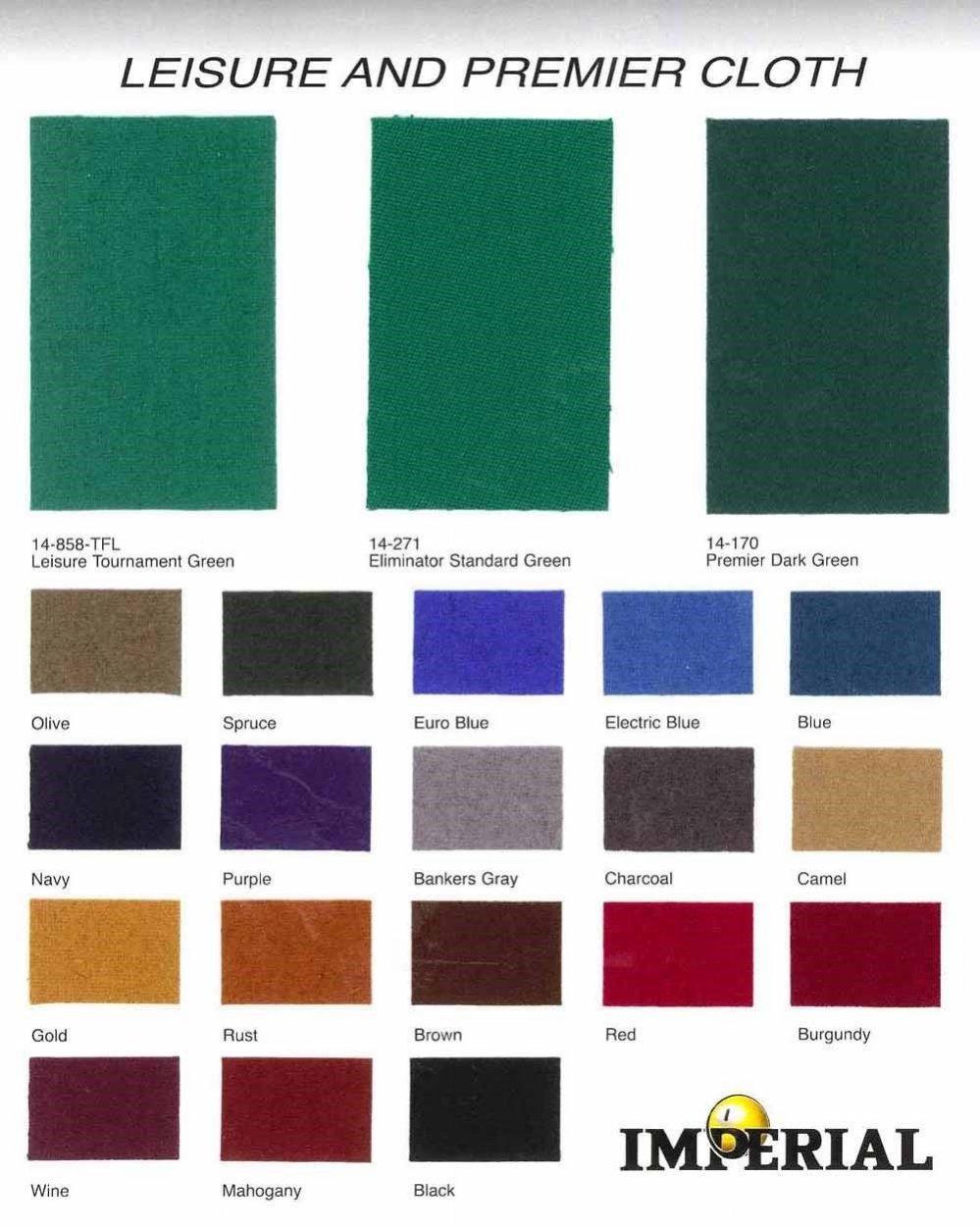 Billiard Cloth / Felt (color chart)