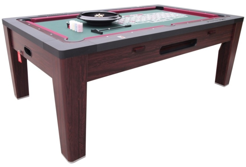 6 In 1 COMBO GAME TABLE ~POOL~AIR HOCKEY~PING PONG~ROULETTE~POKER~DINING  ~WALNUT | EBay