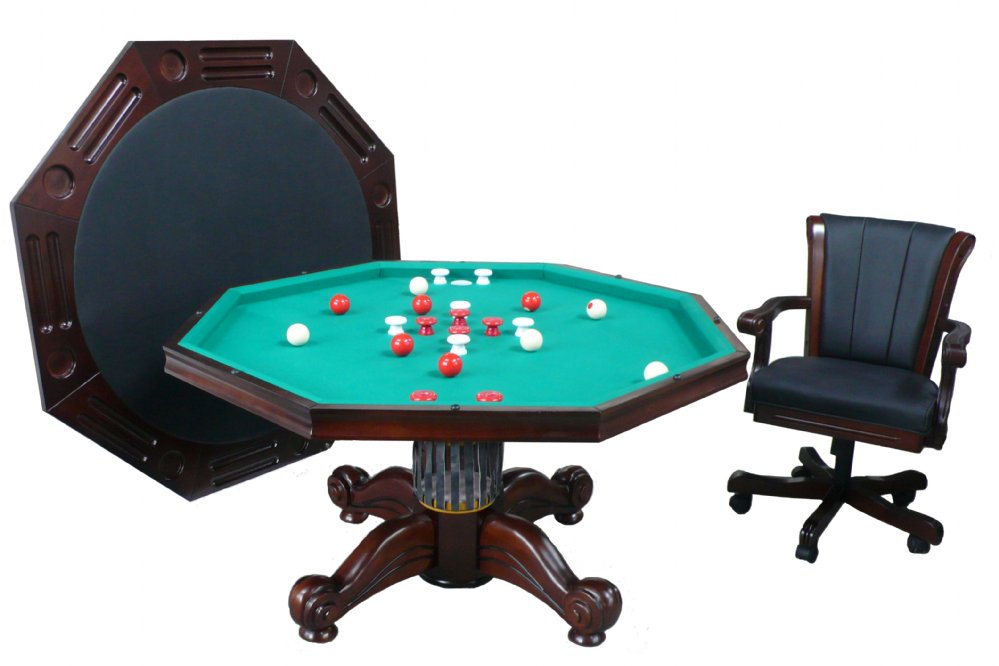 3 in 1 Table - Octagon 54  w/Bumper Pool +4 Chairs -  sc 1 st  GameTables4Less & Berner Billiards 3 in 1 Table - Octagon 54