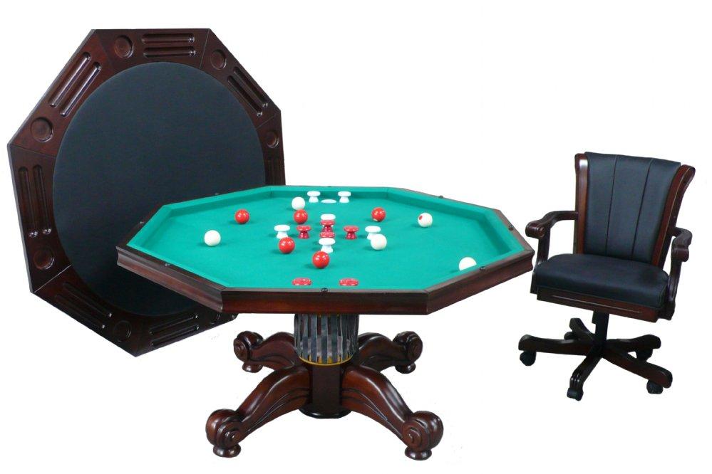 Berner Billiards 3 In 1 Table Octagon 54 With Per Pool 4 Chairs Dark Walnut