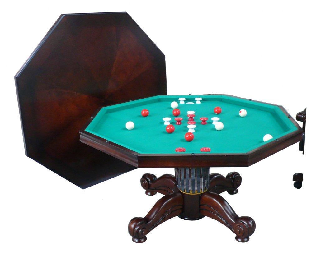 3 In 1 Table Octagon 54 W Per Pool Dark Walnut By