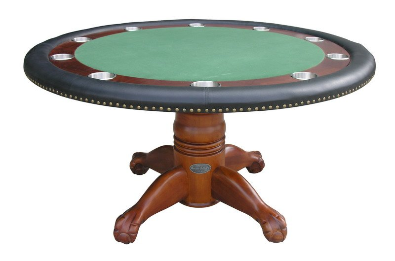 Berner Billiards 60 Round Poker Table 4 Chairs In Antique Walnut Finish